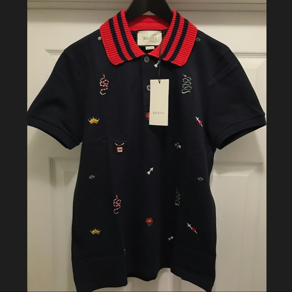 0971769ec Gucci Shirts | Mens Gg Embroidered Polo Ink Blue Szsmlxlxxl | Poshmark